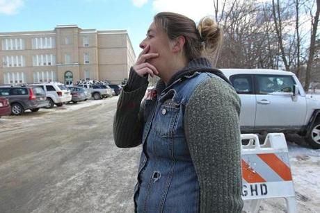 Danielle Thebeault, 37, came to the school to check on her daughter, who knew Colby, the boy who died.